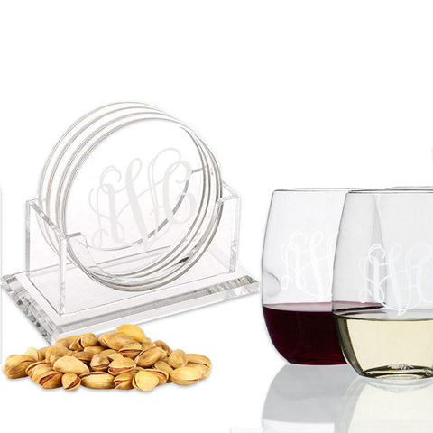 monogram acrylic coasters with wine glasses