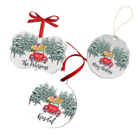 Christmas Red VW Personalized Ornament