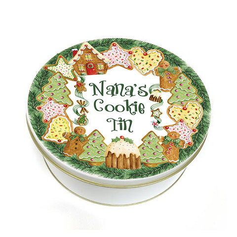 Gingerbread Cookie Wreath Biscuit Tin