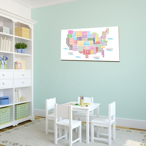 United States Map Canvas Wall Art.Playroom Decor Us Map Mad For Monograms