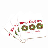 Personalized Wreath Name Christmas Coasters