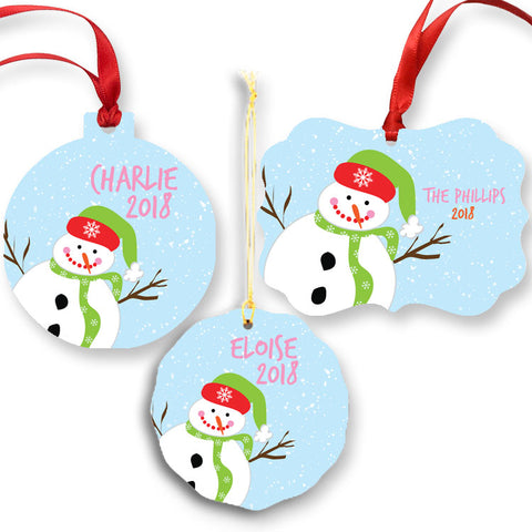 Personalized Blue Snowman Ornament