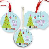 Personalized Blue Christmas Ornament