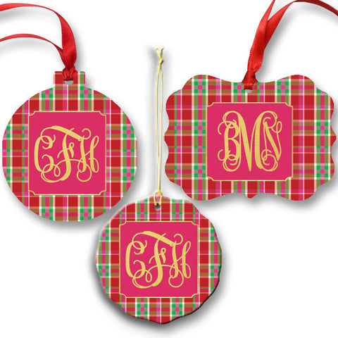 Monogrammed Plaid Ornament