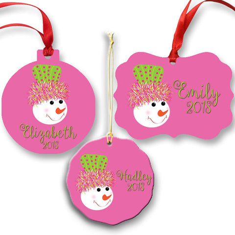 Pink Snowman Christmas Ornament with a Name