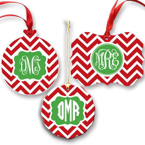 Monogrammed Red Chevron Ornament