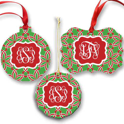 Monogram Red Ribbon Ornament