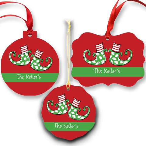 Personalized Elf Feet Ornament for Christmas