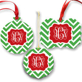 Monogrammed Green Chevron Ornament