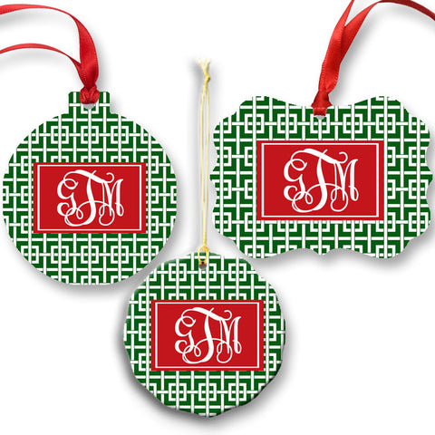 Green and White Greek Key Monogram Christmas Ornament set