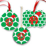 Monogrammed Dot Santa Hat Ornament