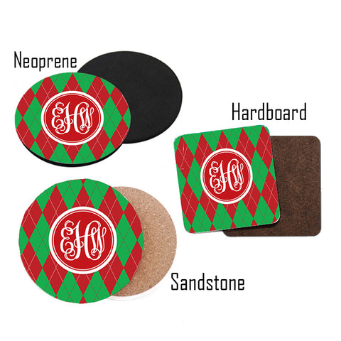 selection of Christmas Gifts Monogrammed Coasters