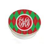 Monogrammed Christmas Cookie Tin Argle Pattern