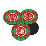 Red and Green Argyle Christmas Coasters