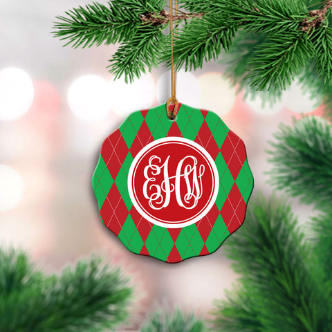 Monogrammed Argyle Ornament
