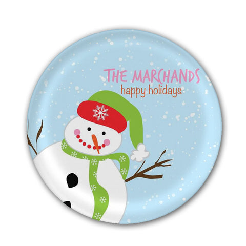 Personalized Snowman Melamine Plate