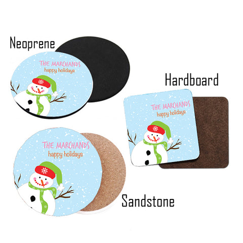 Personalized Blue Snowman Beverage Coasters