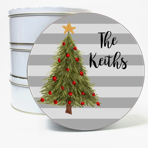 Personalized Christmas Tree Cookie Tin