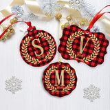 Red Black Plaid Ornament with Initial