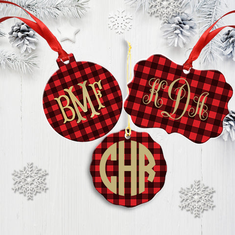 Buffalo Check Plaid Monogram Christmas Ornament