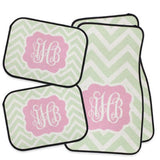 pink and green personalized car mat