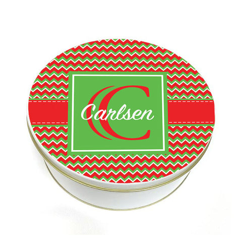 Personalized Christmas Chevron Pattern Cookie Container