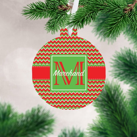 Personalized Chevron Christmas Ornament