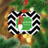 Personalized Chevron Santa Ornament