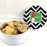 Personalized Chevron Santa Christmas Cookie Tin