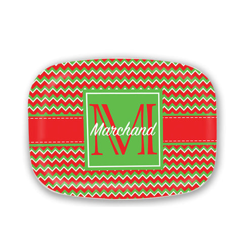 Monogrammed Chevron Patterned Christmas Platter