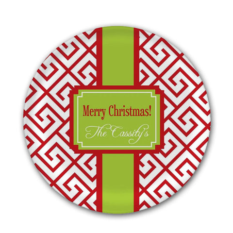 Personalized Red & Green Christmas Plate