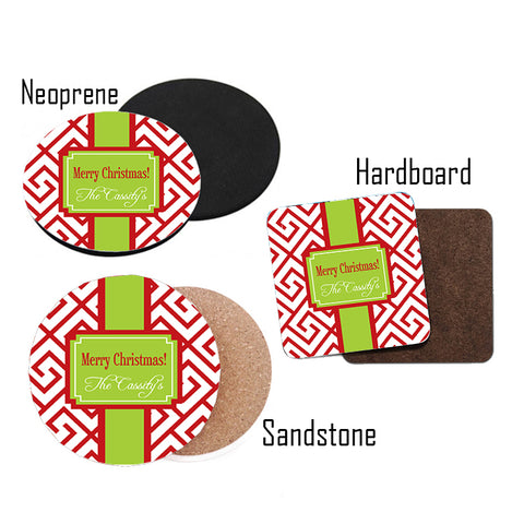 Personalized Red & Lime Green Christmas Coasters