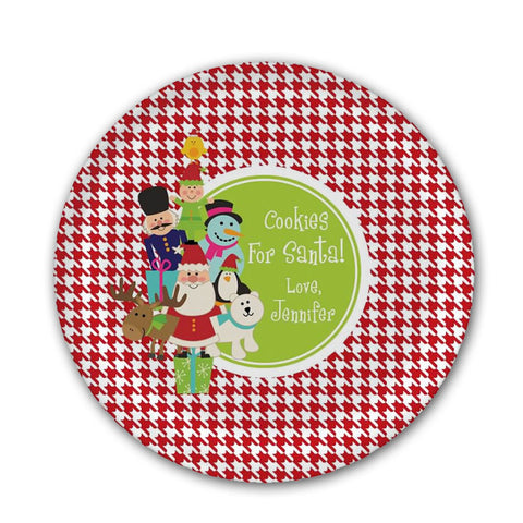 Personalized Santa & Friends Melamine Plate