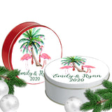 Christmas Flamingo Palm Cookie Tin