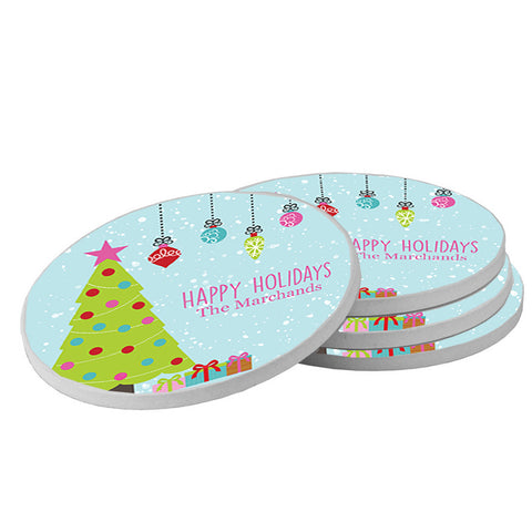 Round Christmas Beverage Coasters