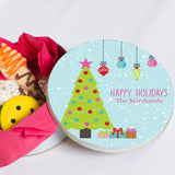 Personalized Blue Christmas Cookie Tin