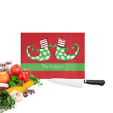 Personalized Christmas Elf Feet Cutting Board with vegetables