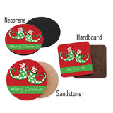 Personalized Elf Feet Christmas Coasters