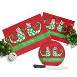Personalized Christmas Elf Feet Cutting Board  set of 3