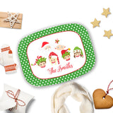 Family Christmas Platter with Elf Theme Personalized