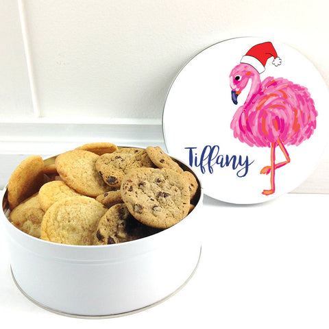 Personalized Christmas Flamingo Cookie Tin