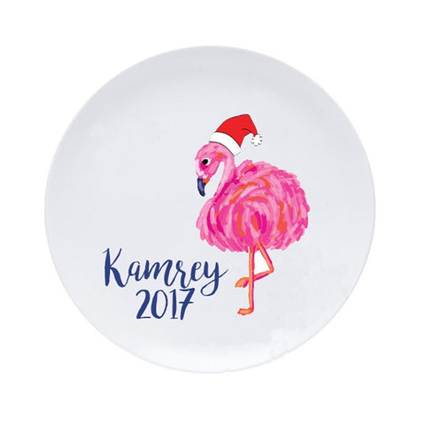 Christmas Flamingo Personalized Plate