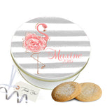 Personalized Flamingo Rose Cookie Tin