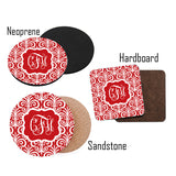 Monogram Christmas Coasters Fancy Red design