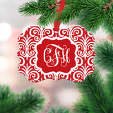 Red & White Monogrammed Ornament