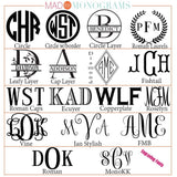 Engraving Font Chart
