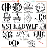 Engraved Monogram Chart