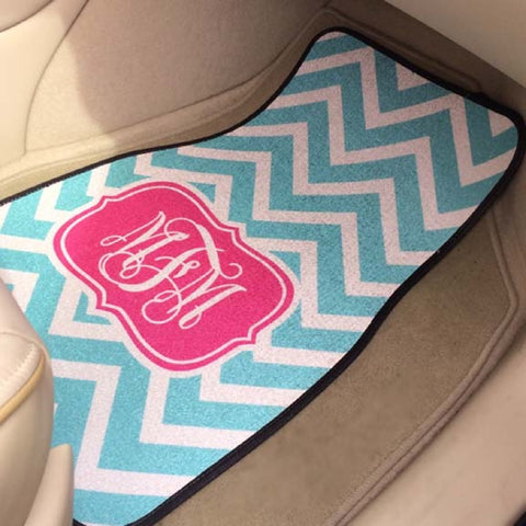 monogram car mat in car Pink and Aqua Chevron