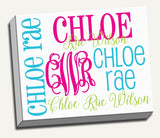 Personalized Name & Monogram Canvas Wall Art