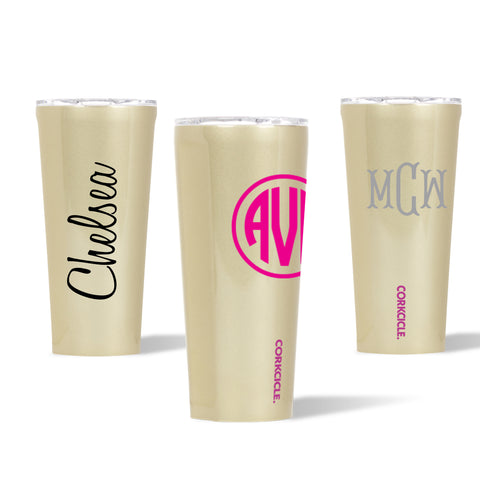 Monogrammed 24 oz Glampagne Tumbler with Lid by Corkcicle
